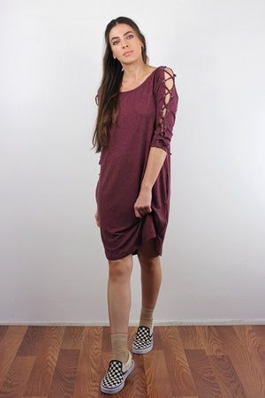 Lace up sleeve dress with pockets, in Burgundy. Image 5