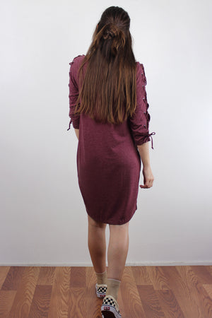 Lace up sleeve dress with pockets, in Burgundy. Image 6