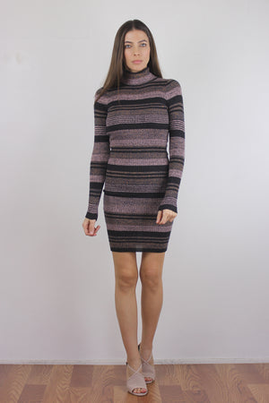 Mauve striped knit turtleneck dress, front.