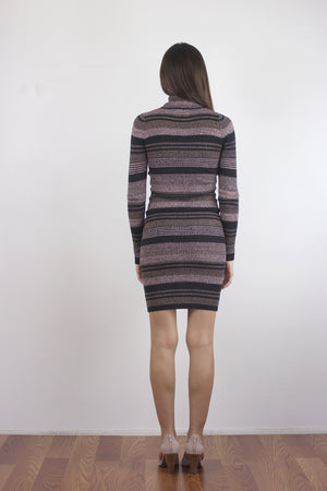 Mauve striped turtleneck dress, back.