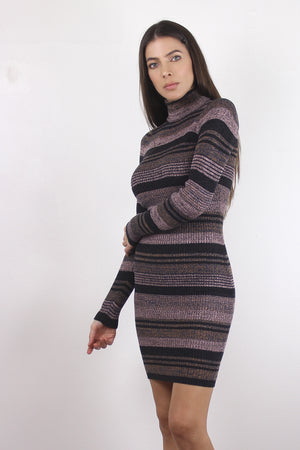 Mauve striped knit bodycon turtleneck dress.