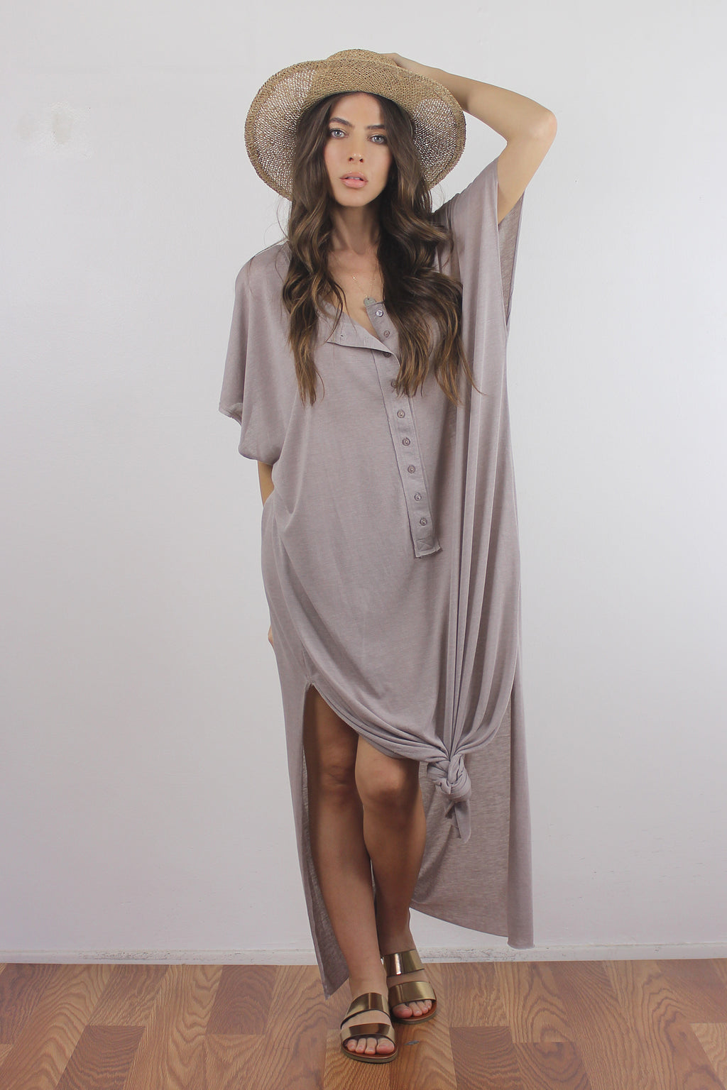 Button down henley maxi dress in Mocha.