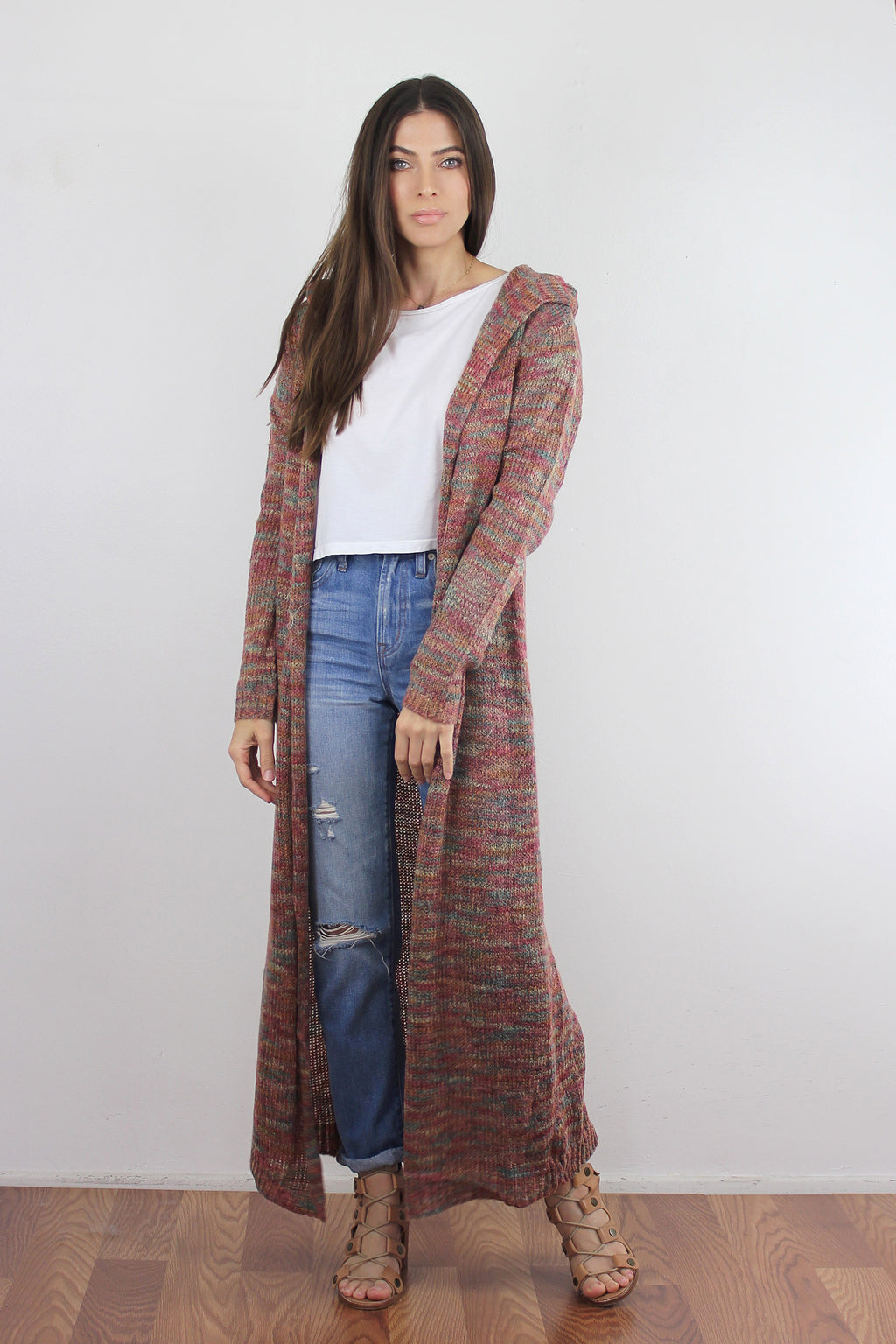 Multi color, long hooded cardigan.