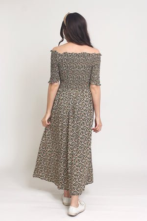 Floral print, off shoulder midi dress with smocked bodice, in Charcoal. Image 10