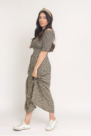 Floral print, off shoulder midi dress with smocked bodice, in Charcoal. Image 11