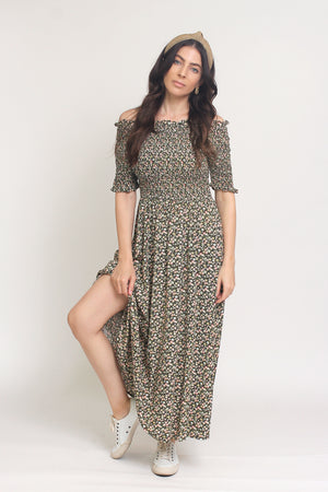 Floral print, off shoulder midi dress with smocked bodice, in Charcoal. Image 12
