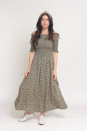 Floral print, off shoulder midi dress with smocked bodice, in Charcoal. Image 13