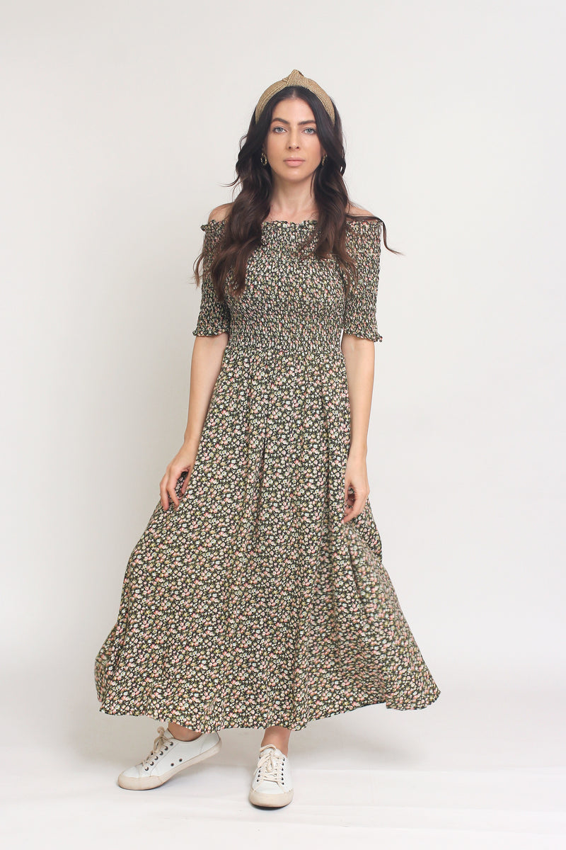 Floral print, off shoulder midi dress with smocked bodice, in Charcoal. Image 3