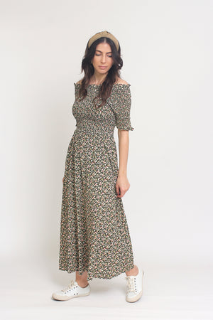 Floral print, off shoulder midi dress with smocked bodice, in Charcoal. Image 14