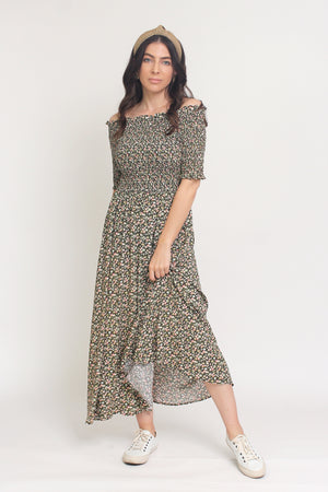 Floral print, off shoulder midi dress with smocked bodice, in Charcoal. Image 15