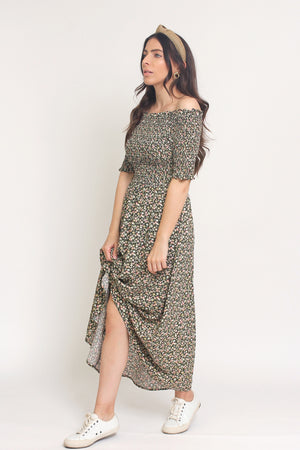 Floral print, off shoulder midi dress with smocked bodice, in Charcoal. Image 2