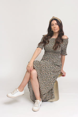 Floral print, off shoulder midi dress with smocked bodice, in Charcoal. Image 6