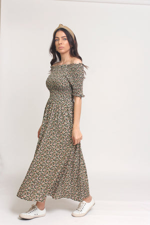 Floral print, off shoulder midi dress with smocked bodice, in Charcoal. Image 7