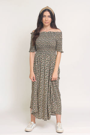 Floral print, off shoulder midi dress with smocked bodice, in Charcoal. Image 8