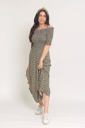 Floral print, off shoulder midi dress with smocked bodice, in Charcoal. Image 9
