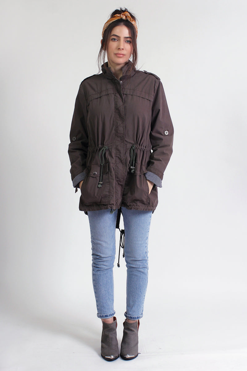 Lightweight parka jacket, in Olive. Image 5