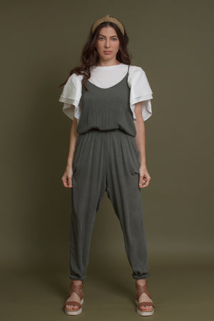 Olive jumpsuit with pockets.