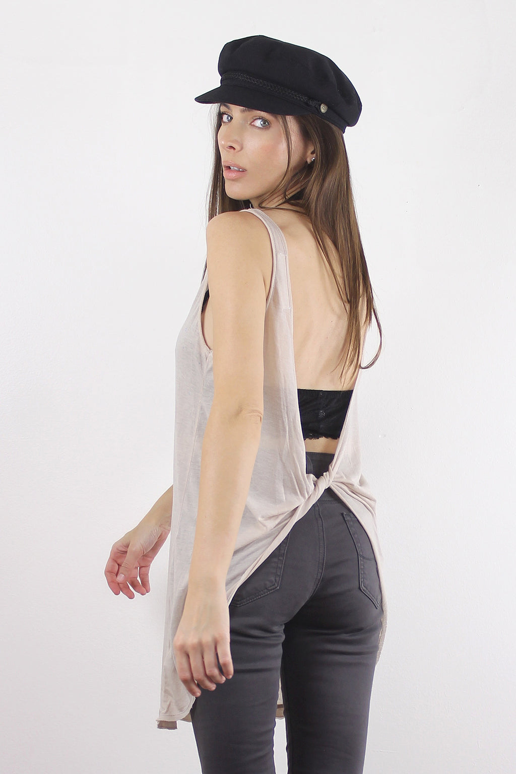 Open back tee shirt in Nude.