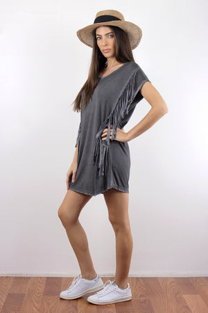 Oversized fringe tee shirt, in Charcoal.