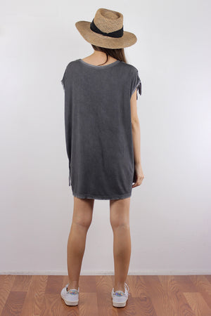 Oversized fringe tee shirt, in Charcoal. Image 2