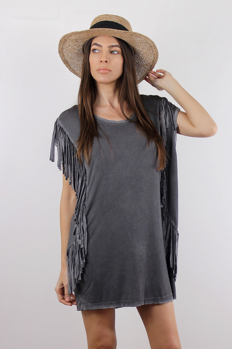 Oversized fringe tee shirt, in Charcoal. Image 3