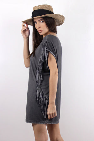 Oversized fringe tee shirt, in Charcoal. Image 4