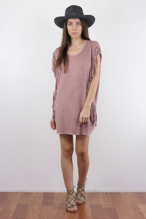 Oversized fringe tee shirt, in Mauve.