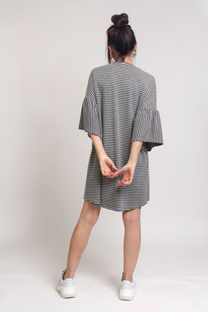 Oversized striped tee shirt dress with trumpet sleeves, in Grey Stripe. Image 10