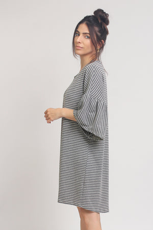 Oversized striped tee shirt dress with trumpet sleeves, in Grey Stripe. Image 11