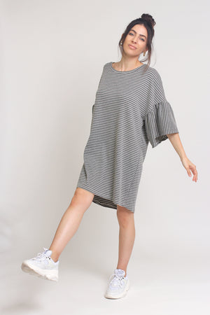 Oversized striped tee shirt dress with trumpet sleeves, in Grey Stripe. Image 2