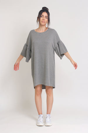 Oversized striped tee shirt dress with trumpet sleeves, in Grey Stripe. Image 3