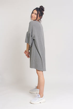 Oversized striped tee shirt dress with trumpet sleeves, in Grey Stripe. Image 4
