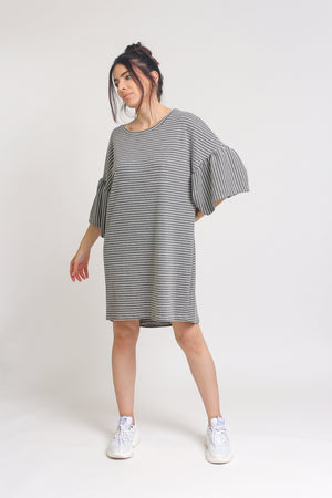 Oversized striped tee shirt dress with trumpet sleeves, in Grey Stripe. Image 5