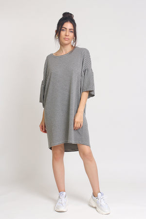 Oversized striped tee shirt dress with trumpet sleeves, in Grey Stripe. Image 6