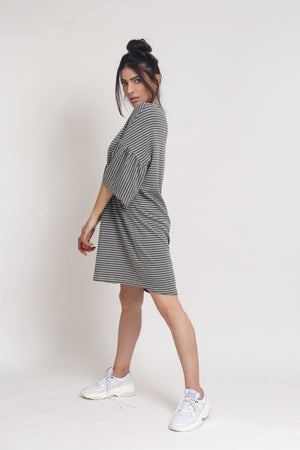 Oversized striped tee shirt dress with trumpet sleeves, in Grey Stripe. Image 7