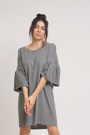 Oversized striped tee shirt dress with trumpet sleeves, in Grey Stripe. Image 8