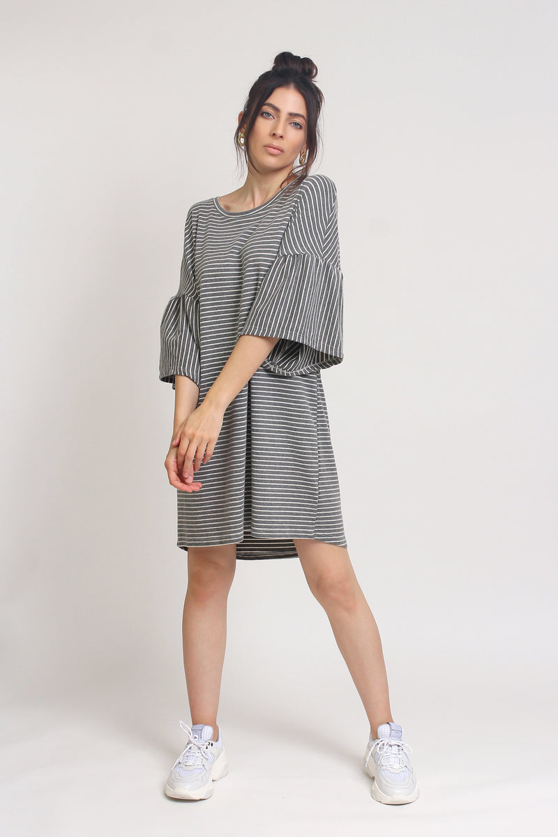 Oversized striped tee shirt dress with trumpet sleeves, in Grey Stripe. Image 9