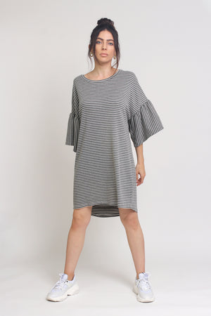 Oversized striped tee shirt dress with trumpet sleeves, in Grey Stripe.