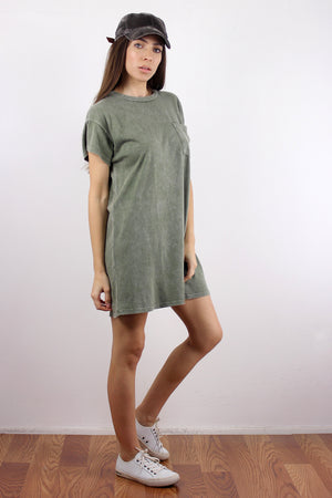 Oversized tee shirt dress, in Vintage Olive. Image 5