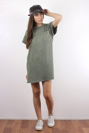 Oversized tee shirt dress, in Vintage Olive.