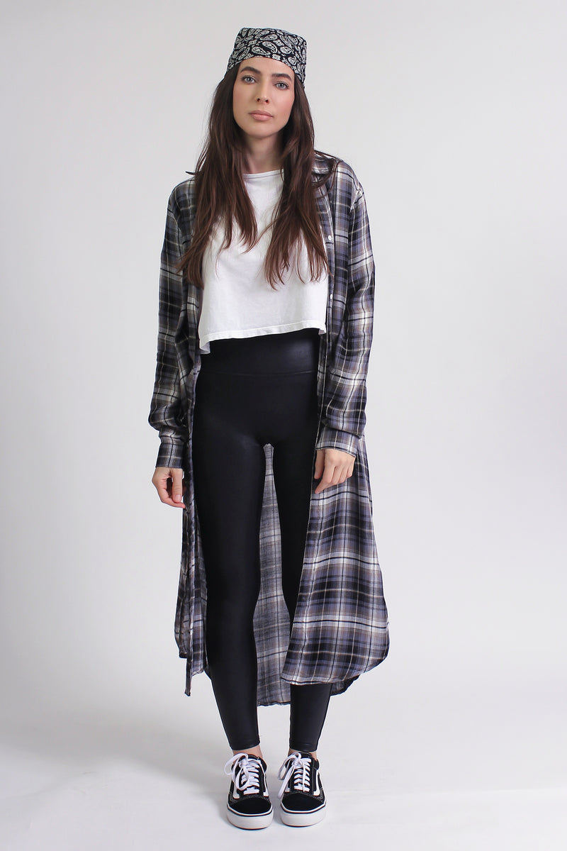 Plaid duster with side slits, in Olive. Image 6