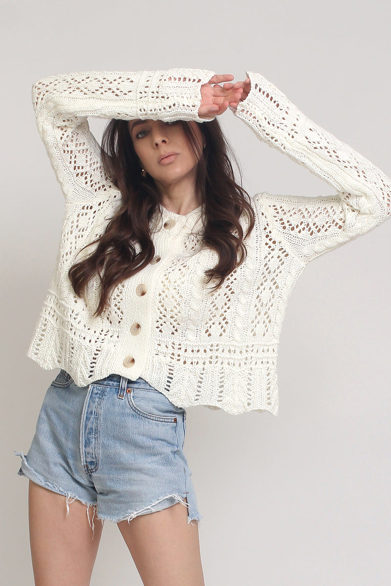 Pointelle knit cardigan, in Off White. Image 15