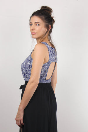 Moroccan print top with cutout back, in Navy.