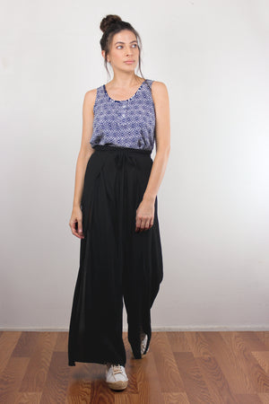 Moroccan print top with cutout back, in Navy. Image 2