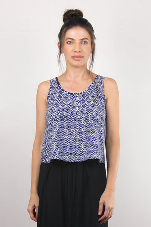 Moroccan print top with cutout back, in Navy. Image 5