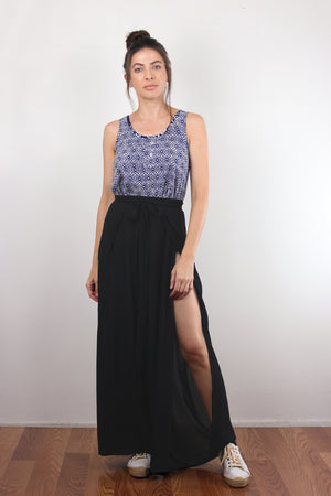 Moroccan print top with cutout back, in Navy. Image 6