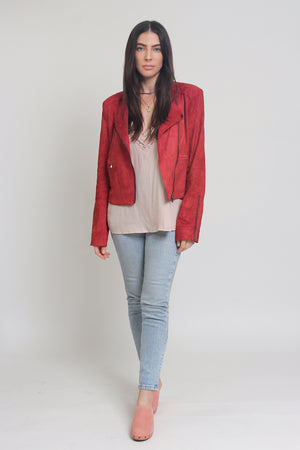 Red suede jacket. Image 5