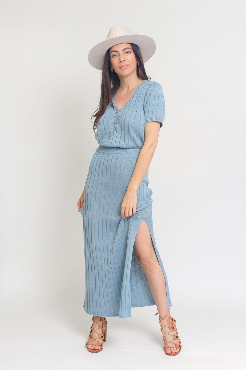 Knit midi skirt set, in Pearl Blue. Image 5