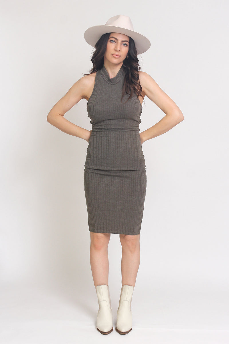 Fitted ribbed midi dress with lace up back, in Olive. Image 4