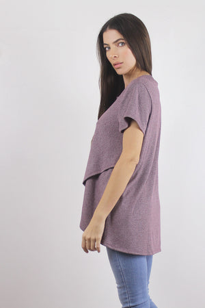 Ribbed tee shirt with tulip hem, side.